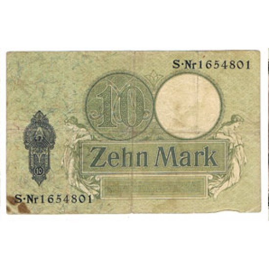 1906 - Germany   Pic 9b             10 Marks VF banknote