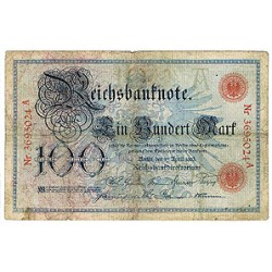 1903 - Germany   Pic 22            100 Marks F banknote