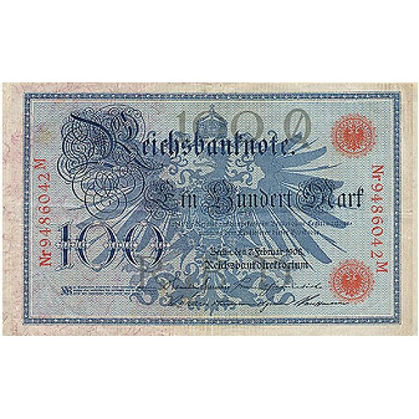 1908 - Germany   Pic 33a            100 Marks  banknote
