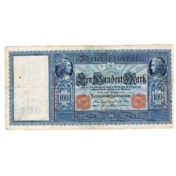 1909 - Germany   Pic 38            100 Marks F banknote