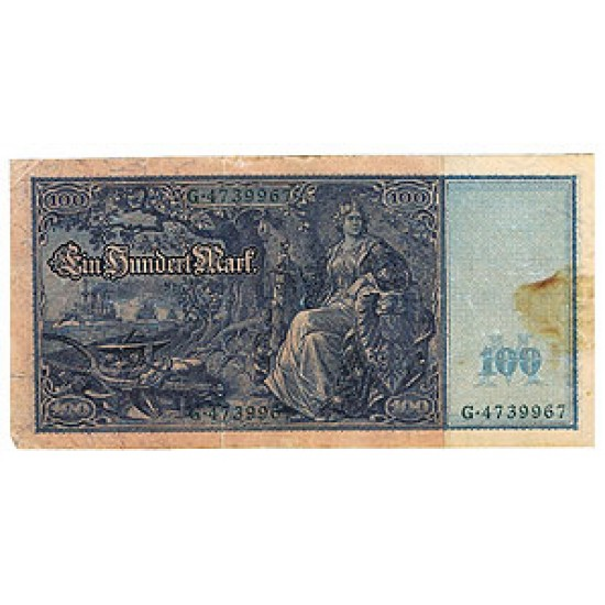 1910 - Germany   Pic 43            100 Marks F banknote