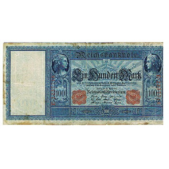 1910 - Germany   Pic 43      red #      100 Marks   banknote