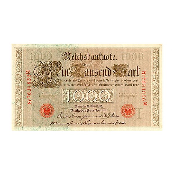 1910 - Germany   Pic 44b             1.000 Marks  banknote