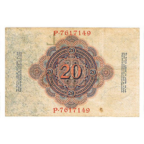 1914 - Germany Pic 46b   20 Marks VF banknote