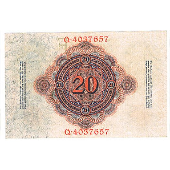 1914 - Germany Pic 46b   20 Marks   banknote