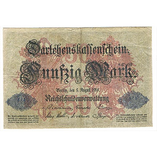 1914 - Germany Pic 49b   50 Marks F  banknote