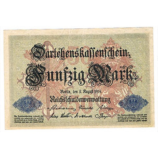 1914 - Germany Pic 49b   50 Marks  X F+ banknote