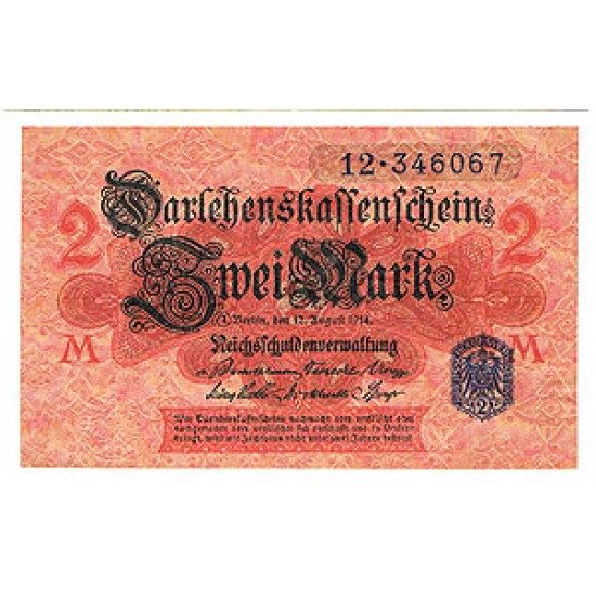 1914 - Germany Pic 55   2 Marks   banknote