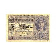 1917 - Germany PIC 56b           5 Marks banknote
