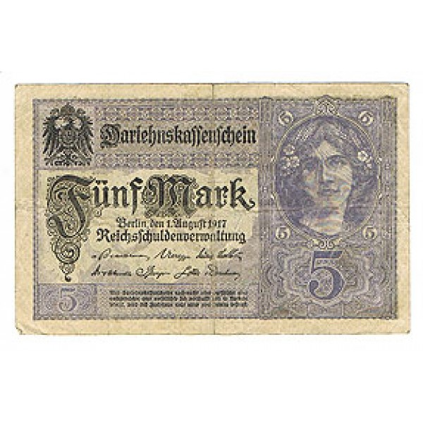 1917 - Germany PIC 56 b           5 Marks G banknote