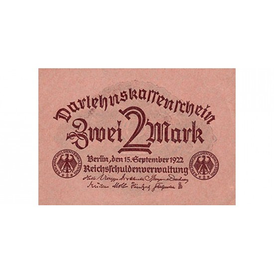 1922 - Germany Pic 62   2 Marks  banknote