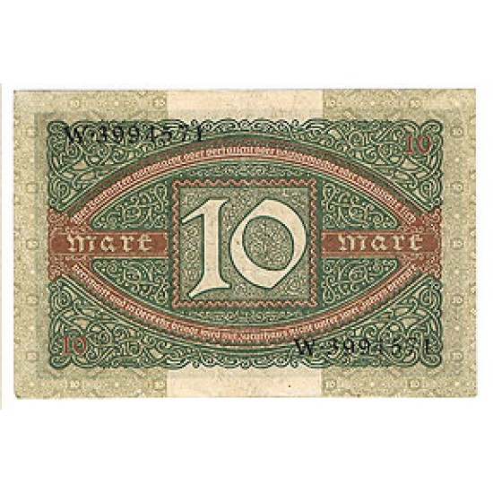 1920 -  Germany PIC 67         10 Marks F banknote