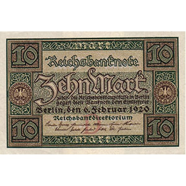 1920 -  Germany PIC 67         10 Marks XF banknote