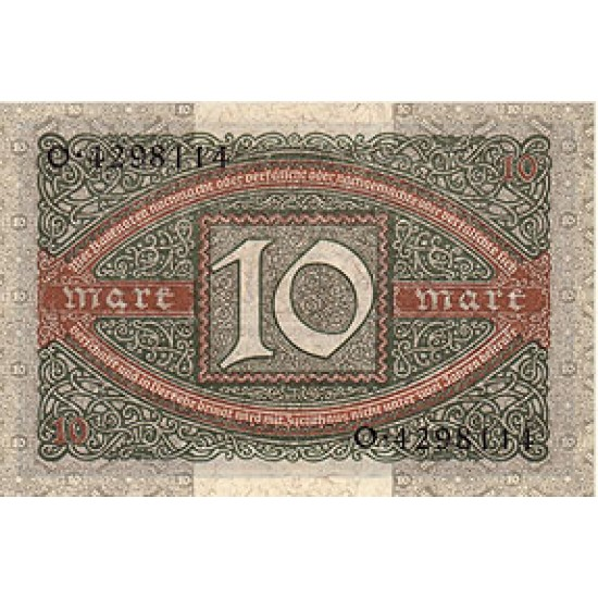 1920 -  Germany PIC 67a         10 Marks banknote