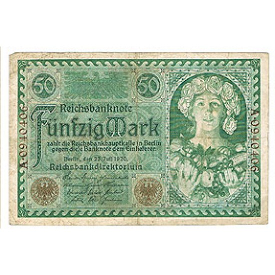 1920 -  Germany  Pic 68          50 Marks  VF banknote