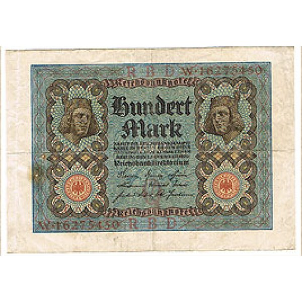 1920 - Germany PIC 69 a     100 Marks  F banknote