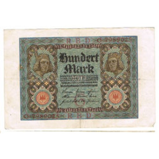 1920 - Germany PIC 69 a     100 Marks  XF banknote