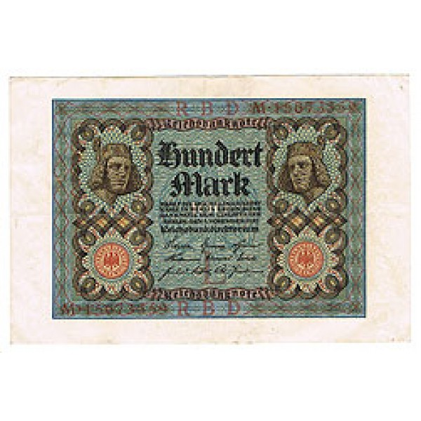 1920 - Germany PIC 69 a     100 Marks  VF banknote