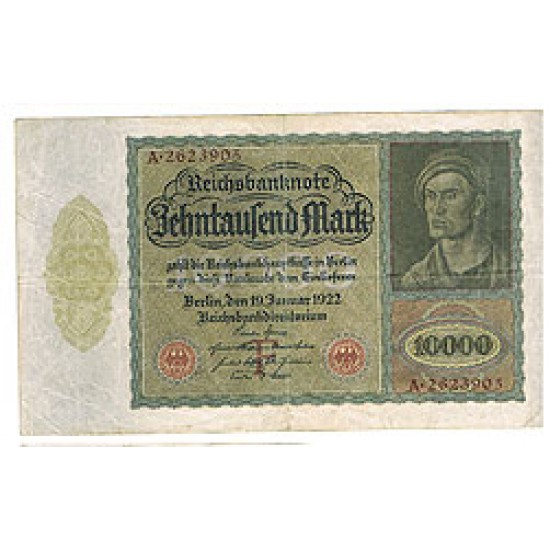 1922 -  Germany  PIC 71    10.000 Marks VF banknote