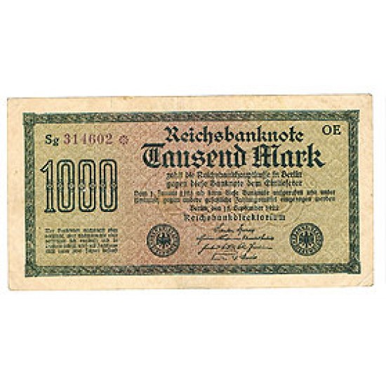 1922 -  Germany  PIC 76    1.000 Marks VF banknote