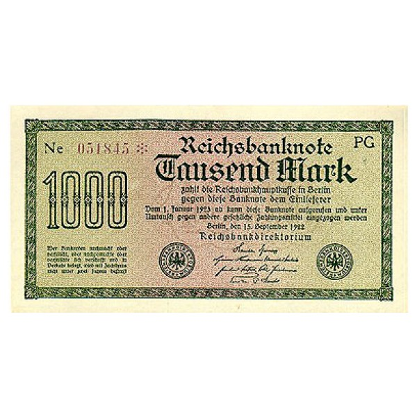 1922 -  Germany  PIC 76    1.000 Marks banknote