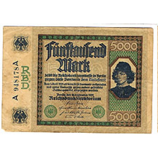 1922 - Germany PIC 77  5.000 Marks F banknote