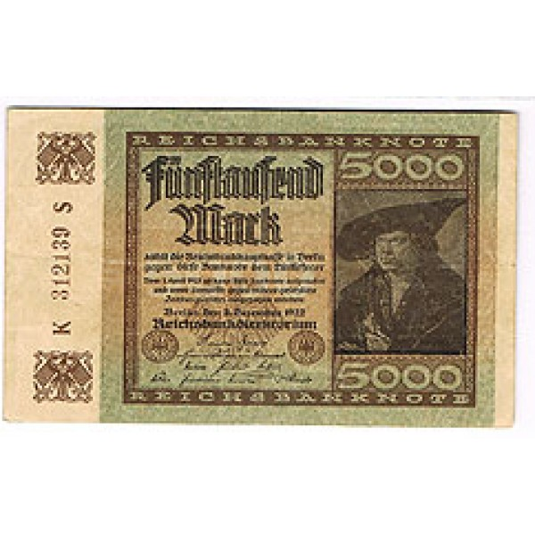 1922 - Germany Pic 81   5.000 Marks VF banknote