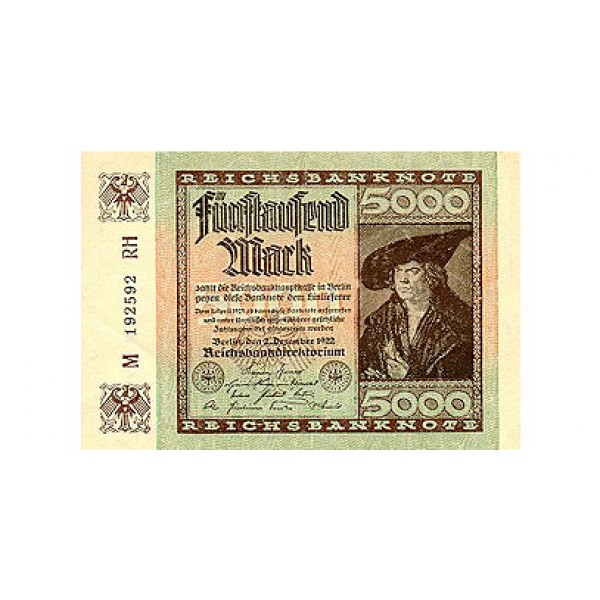 1922 - Germany Pic 81   5.000 Marks  banknote