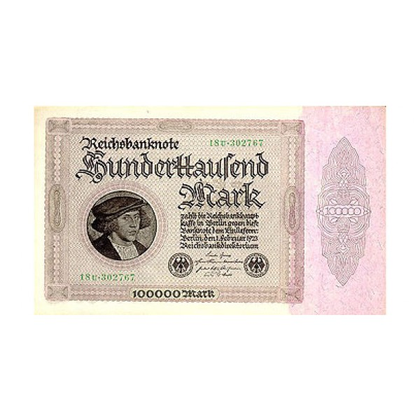 1923 -  Germany Pic 83a     100.000 Marks  banknote