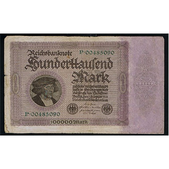 1923 -  Germany Pic 83a     100.000 Marks G banknote