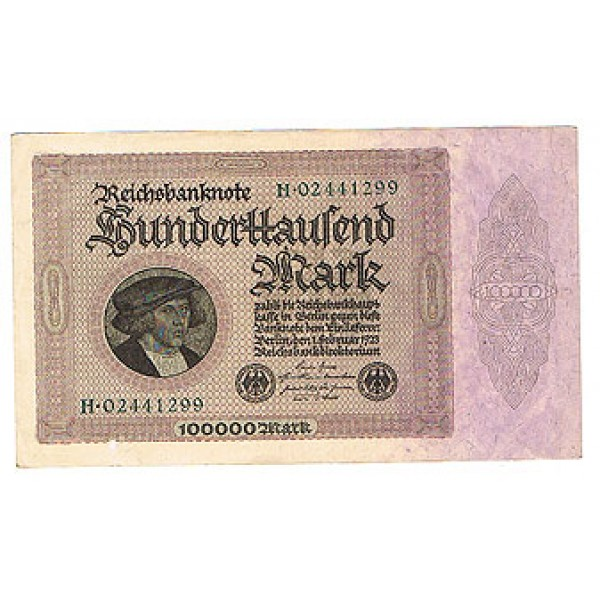 1923 -  Germany Pic 83a     100.000 Marks XF banknote