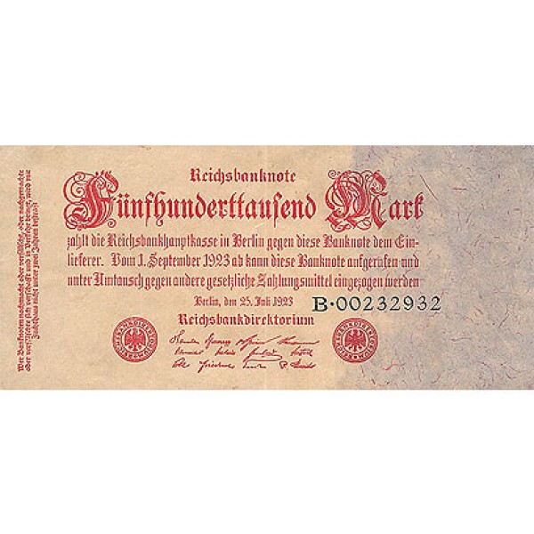 1923 -  Germany Pic 92     500.000 Marks  banknote