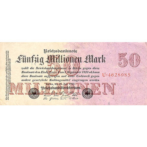 1923 - Germany PIC 98   b     50 Millons Marks VF banknote