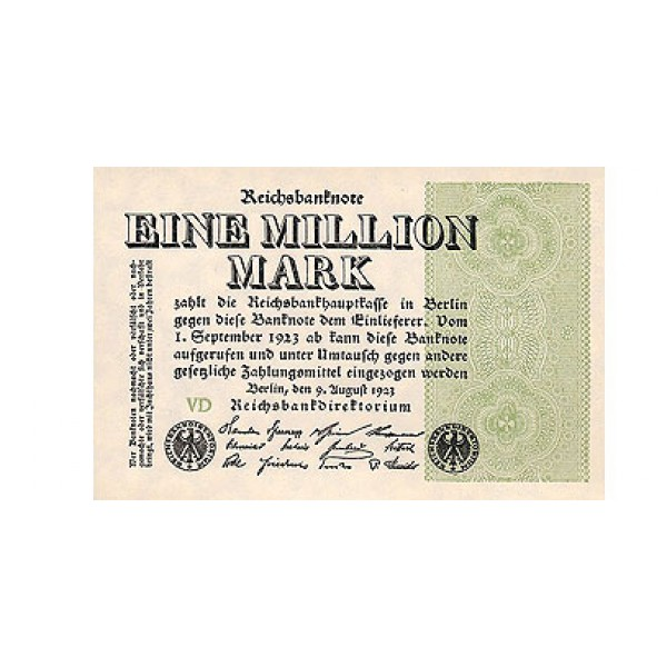 1923 -  Alemania PIC 102a  1 millon Marks banknote