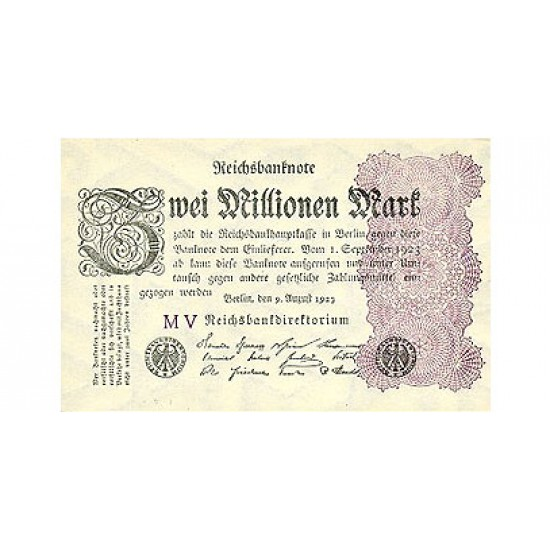 1923 - Germany PIC 104a        2 Millons Marks   banknote