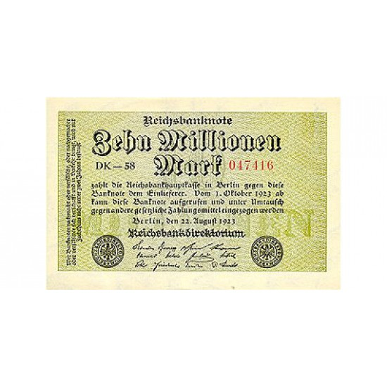 1923 - Germany PIC 106a        10 Millons Marks  banknote