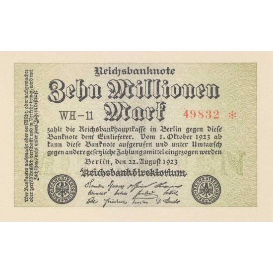1923 - Germany P106c 10 Millons Marks banknote