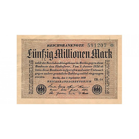 1923 -  Germany PIC 109a    50 Millons Marks banknote
