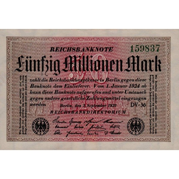 1923 - Germany P109b 50 Millions Marks banknote