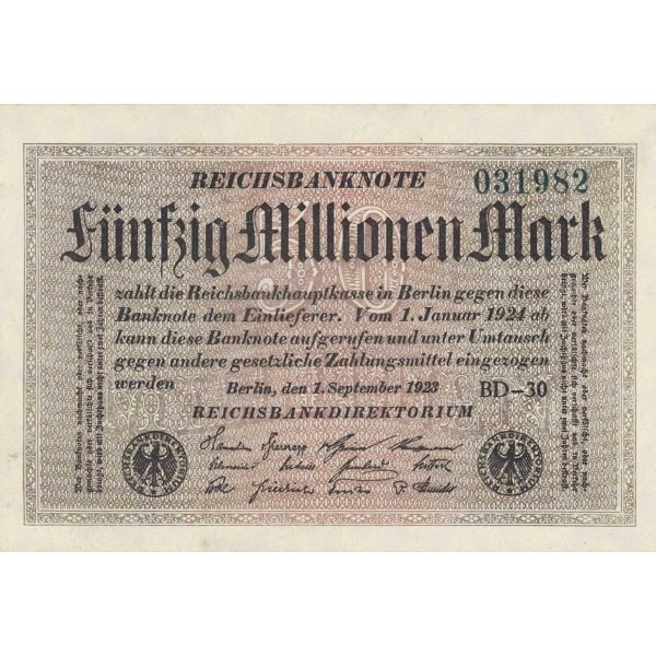 1923 - Germany P109c 50 Millons Marks banknote