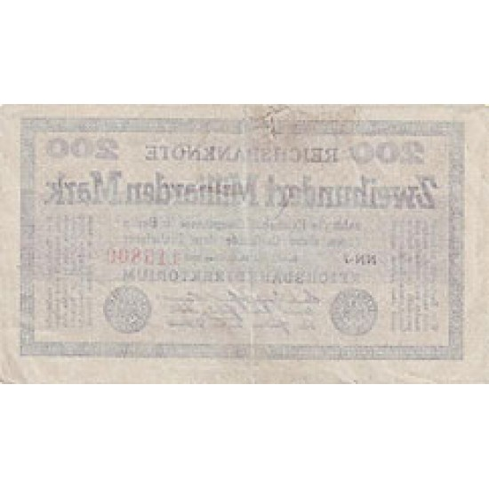 1923 - Germany PIC 121        200 Millons Marks F banknote