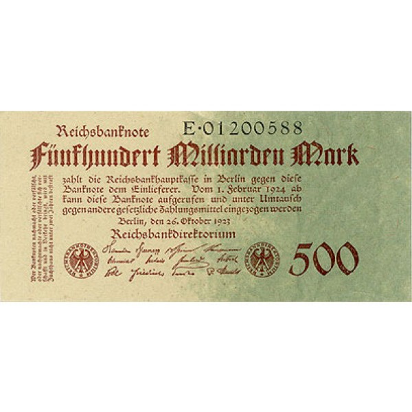 1923 -  Germany PIC 127       500 Millons Marks banknote