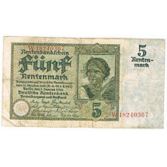 1926 -  Alemania PIC 169          5 Reichsmark F banknote