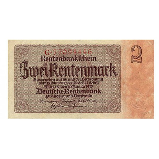 1937-   Germany PIC 174         2 Reig Marks banknote
