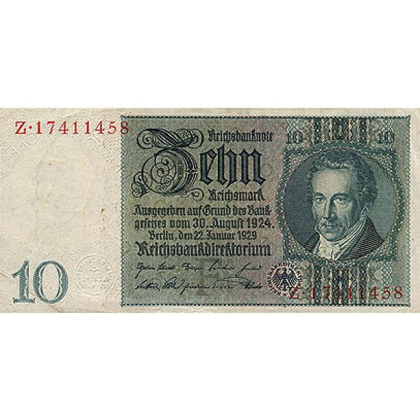 1929 -  Alemania PIC 180 b          10 Reichsmarks banknote