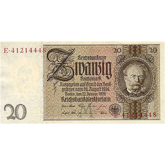 1929 - Germany Pic 181a   20 Marks VF banknote