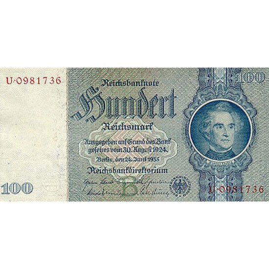 1935 -  Germany PIC 183a         100 Reichsmarks banknote