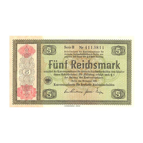 1933 -  Germany PIC 199        5 Reichsmarks banknote