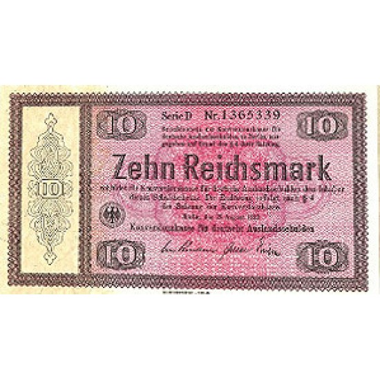 1933 -  Germany PIC 200        10  Reichsmarks banknote