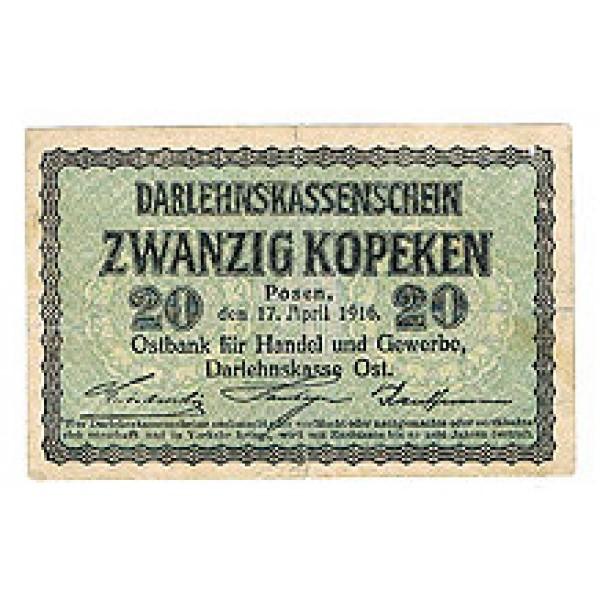 1916 -   Germany  PIC  R120         20 Kopeken VF  banknote